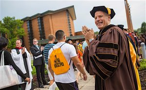"""THEY'VE COME TO LEARN AND GROW"" Mark Heckler, president of Valparaiso University, says the faith-based institution's goal is to prepare students to lead and serve in both church and society."