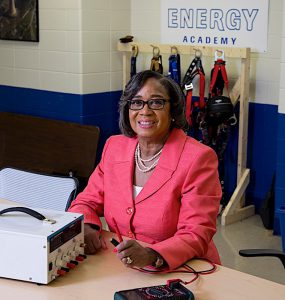 """INNOVATIVE WORK"" Dr. Barbara Eason-Watkins, superintendent of Michigan City Area Schools, visits the NIPSCO Energy Academy classroom in the A.K. Smith Career Center in Michigan City."