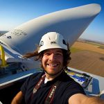 ENTREPRENEURIAL HEIGHTS Guy Rhodes' photographic work took him to the top of a wind turbine in Michigan.