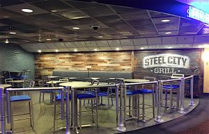 BEST COMMERCIAL INTERIOR DESIGN COMPANY HDW Interiors Inc., Merrillville and South Bend. Pictured here is the Steel City Grill, located in the Majestic Casino.