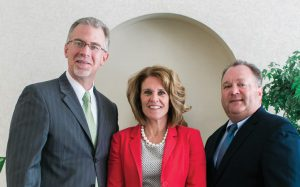 2017 Best Company to Work For winners Franciscan Health. Pictured are regional Presidents and CEOs Dean Mazzoni, Michigan City; Barb Anderson, Crown Point and Patrick Maloney, Hammond and Munster. Franciscan was also chosen as Best Hospital, Best Health Care Facility for Cardiology, Best Health Care Facility for Treating Cancer, Best Urgent / Immediate Care Clinic, Best Occupational Health Care Practice, Best Fitness and Wellness Facility.