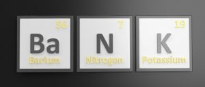 Bank spelled in elements from the periodic table.