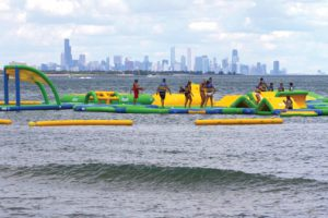 WhoaZone floating sports park, on Lake Michigan