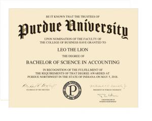 Purdue NW diploma
