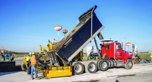 Superior's Gomaco PS 2600 Spreader/Placer on runway site