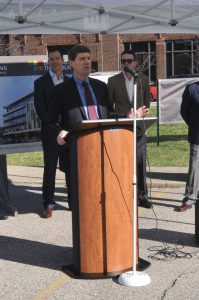 Phil Faccenda, managing partner of the South Bend office of Barnes & Thornburg LLP, address attendees at the April 9 ground breaking of a new downtown South Bend office building, which will be the law firm's new home by summer 2021. (Photo provided by Barnes & Thornburg LLP)