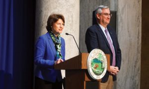 Elaine Bedel and Gov. Holcomb