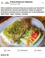 El Salto Restaurant, which has six locations in Northwest Indiana, has changed up its Facebook marketing to promote carry-out and delivery options.