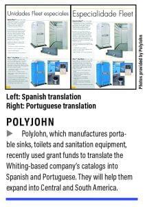 PolyJohn catalogs translated into Spanish and Portuguese