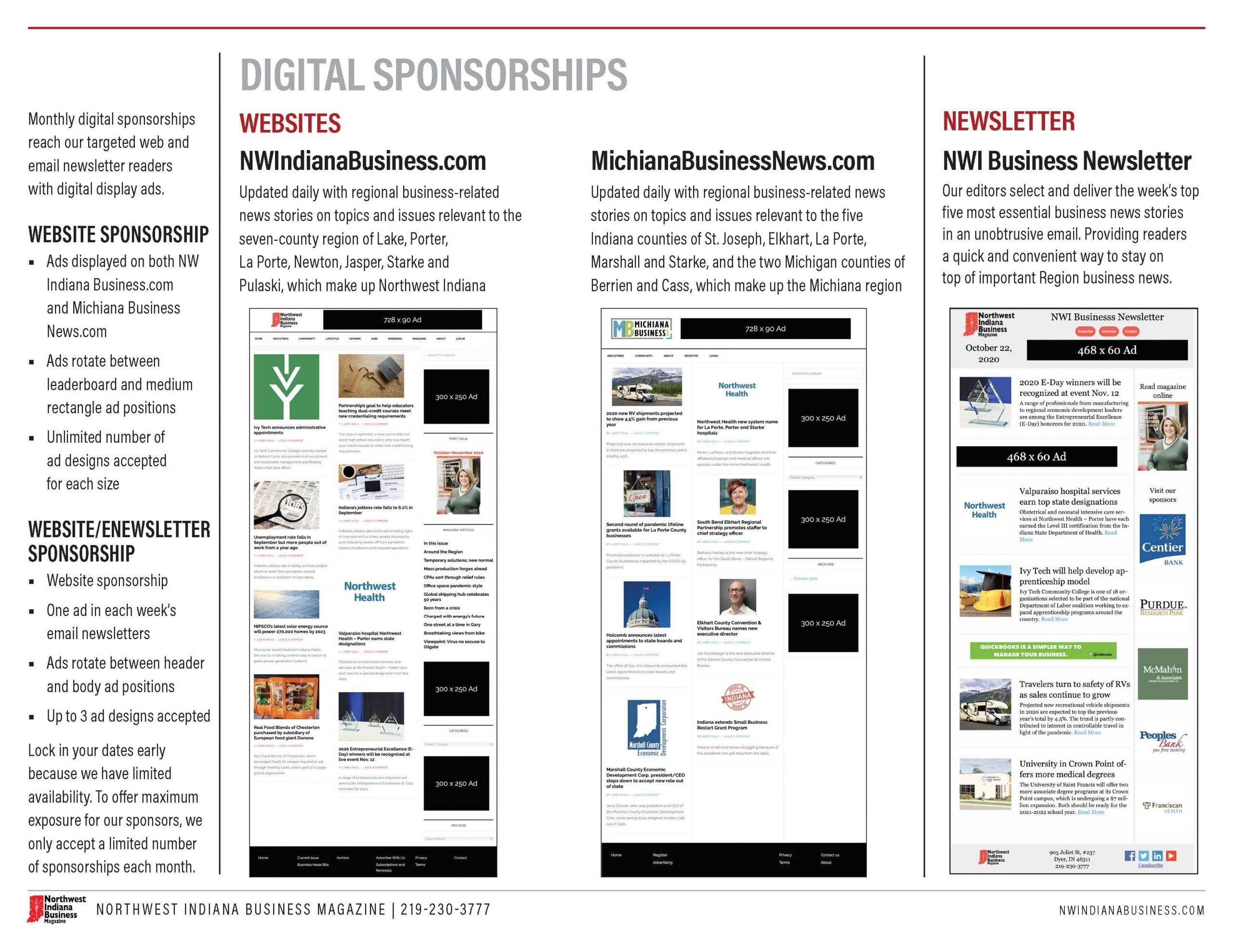 Northwest Indiana Business Magazine 2021 Digital Sponsorships