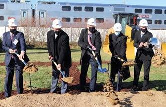 Ceremonial groundbreaking in Dyer of West Lake Corridor project